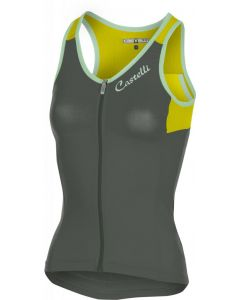 Castelli Solare dames top-Forest gray-Yellow-M