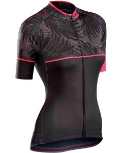 Northwave Verve 3 dames shirt korte mouw-Zwart-Fluorroze-XL