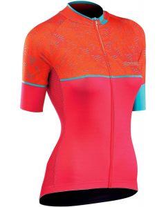 Northwave Verve 3 dames shirt korte mouw-Oranje-Lichtgroen-XL