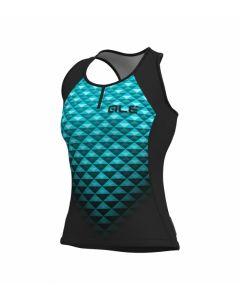 Alé Solid Hexa dames tank top-Zwart-Turquoise-M