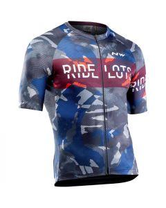 Northwave Blade wielershirt korte mouw-Blauw-Grijs-Rood-XL