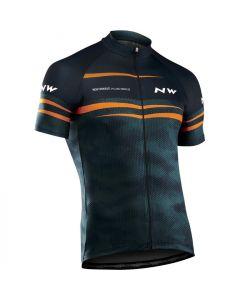 Northwave Origin wielershirt korte mouw-Blauw-Oranje-XL