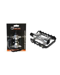 QT Cycle Tech MTB pedaalset-Zwart-Zilver