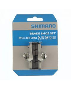 Shimano R55C4 BR-5800 remblokken + schoen (1 paar)-Zilver